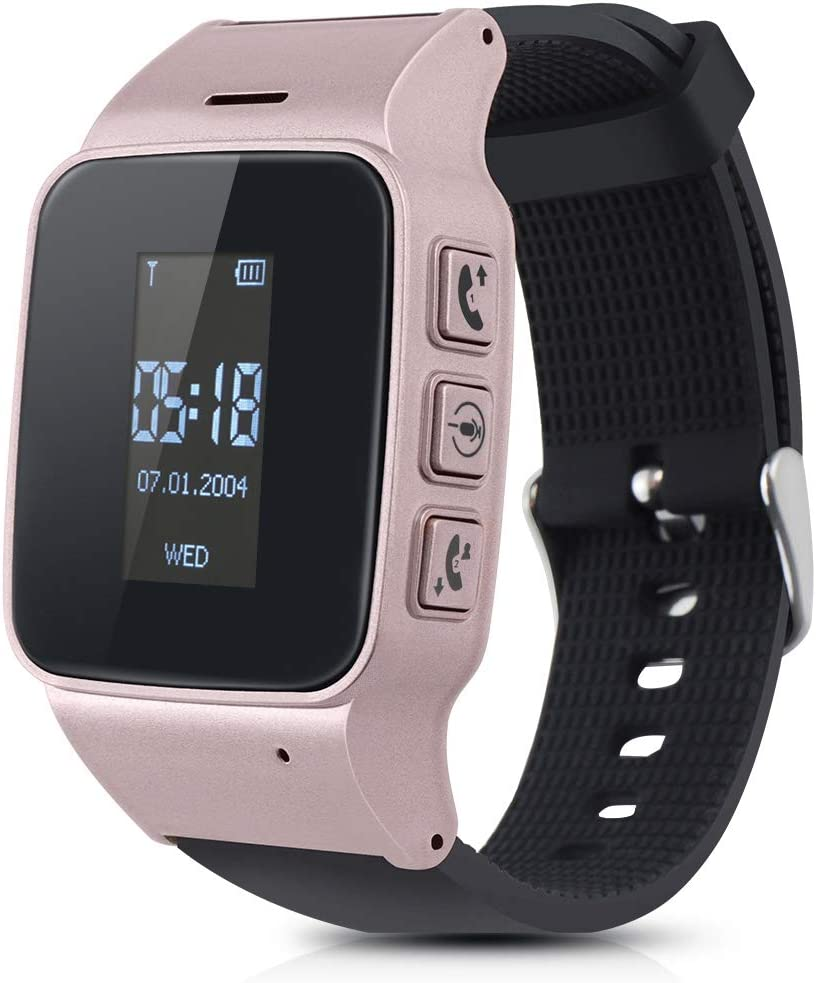 TOPCHANCES Elderly Kids Smart Watch with Dual Way Call SOS Anti-Lost GPS Pedometer WiFi Tracking Remote Monitor Watches for iPhone Android Phones-English Display (Rose Gold)