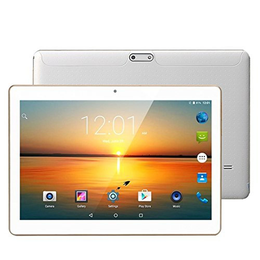 LLLCCORP Unlocked Pad 10 inch Octa Core 2.5Ghz 3G Tablet Android 6.0 Dual SIM Card Slots 4GB RAM 64GB ROM Built-in WIFI Bluetooth GPS Google Plays Store Netflix Youtube (White) by LLLccorp