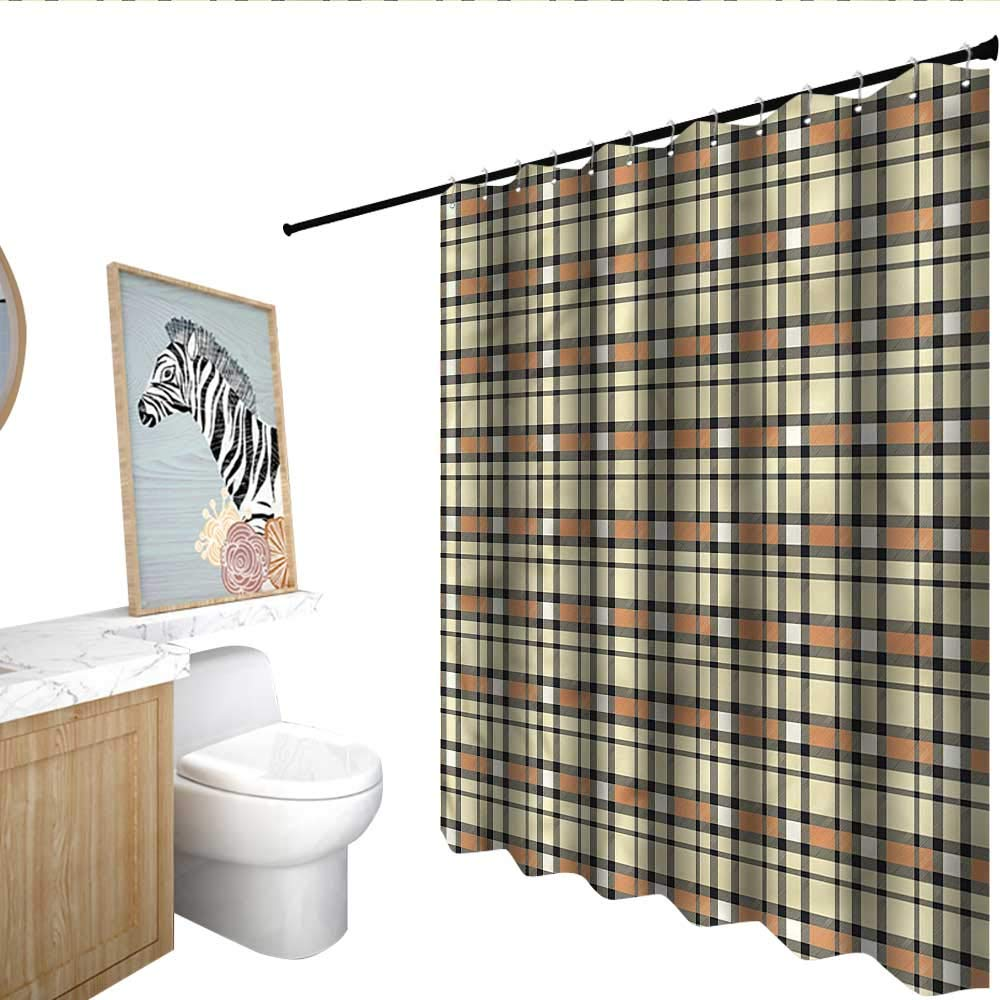 BlountDecor 抽象的 シャワーカーテン デジタル印刷 対称 ウェービーライン 55x72インチ バスルームに最適 63