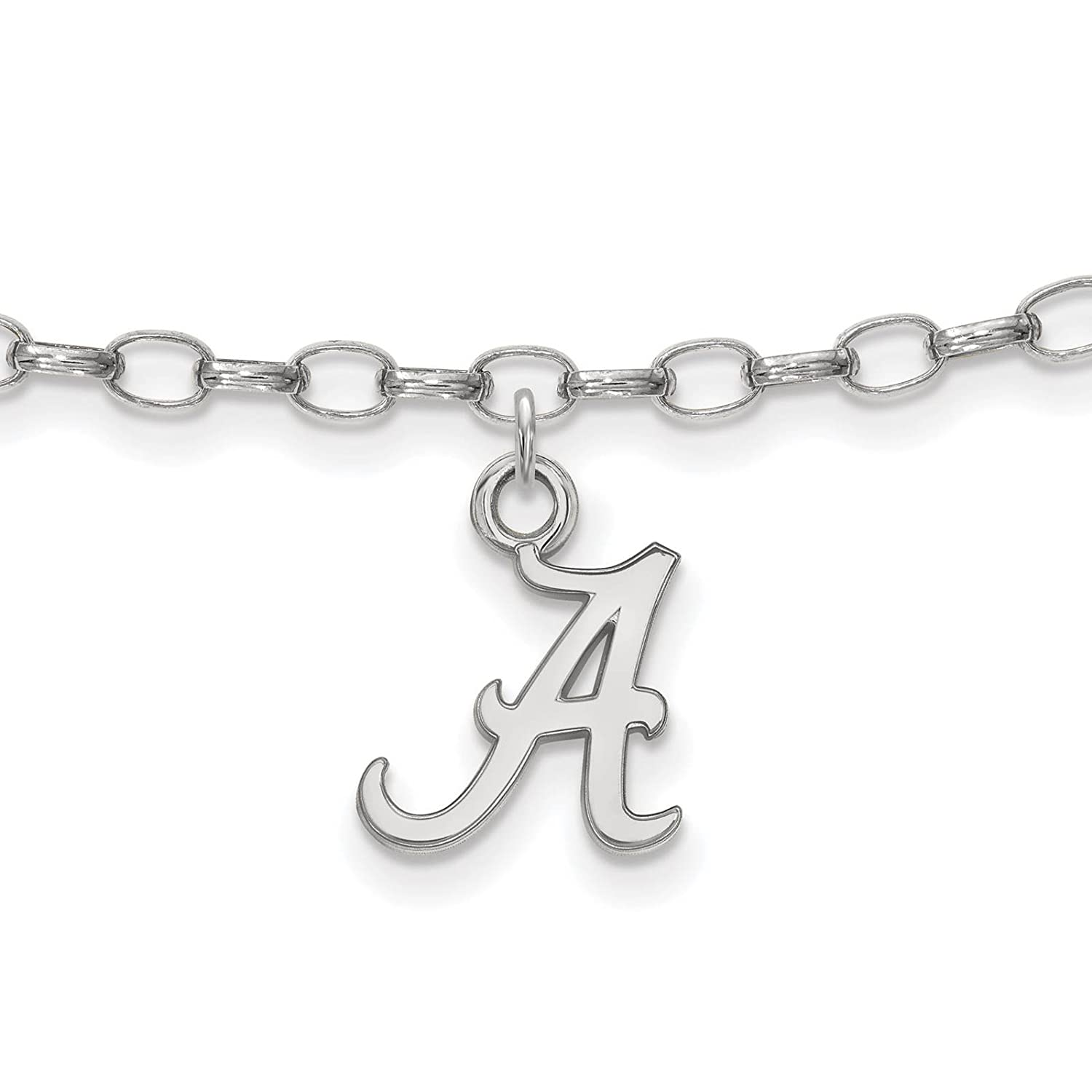 925 Sterling Silver Rhodium-plated Laser-cut University of Alabama Anklet 9