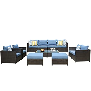 ovios Patio Furniture Set, Big Size Outdoor Furniture 12 Pcs Sets,PE Rattan Wicker sectional with 4 Pillows and 2 Furniture Cover, No Assembly Required,Brown (12 Piece Big Size, Blue)
