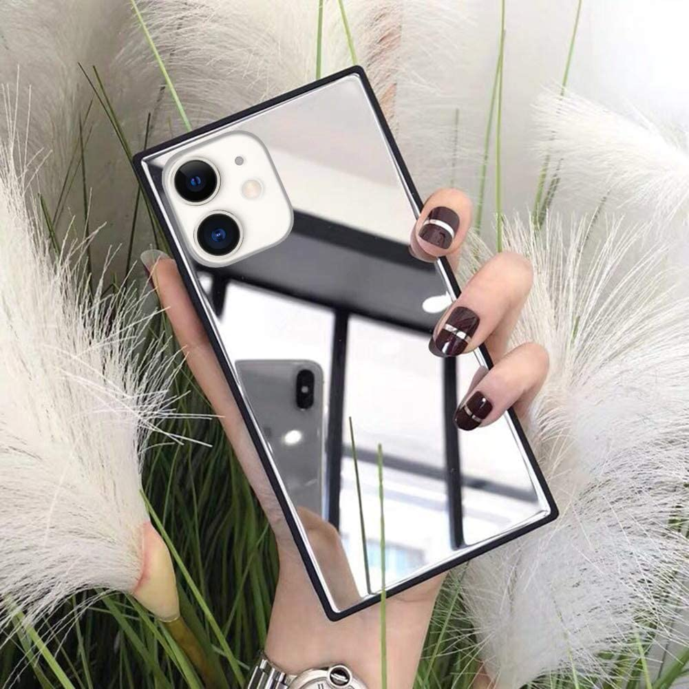 LUVI for iPhone 12 Mini Square Case Makeup Mirror for Women Girls Cute Luxury Glossy Glass Mirror Back Design Cover with Silicone TPU Slim Thin Case for iPhone 12 Mini 5.4 inch