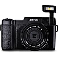 """Amkov 24MP 3.0"""" TFT LCD Flip Screen 1080P FHD Digital Camera 4x Zoom Camcorder with UV Lens Filter, Built-in Flash LF766"""