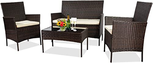 June Win 4 Pieces Outdoor Patio Furniture Sets,Garden Wicker Rattan Chair,Patio Furniture Set