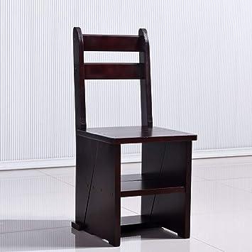 Geyao Silla de escalera plegable de madera maciza Hogar ...