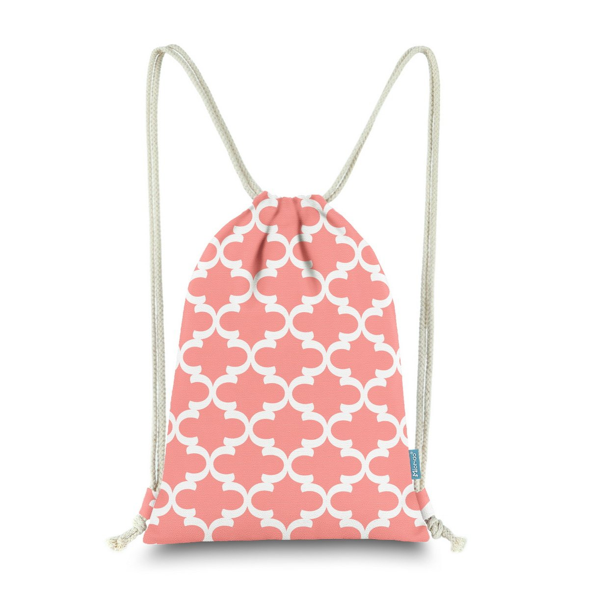 Miomao Drawstring Backpack Bag Quatrefoil Gym Sack Pack Geometric Sinch Sack Sport String Bag With Pocket Christams Gift Beach Bag 13 X 18 Inches Coral Pink