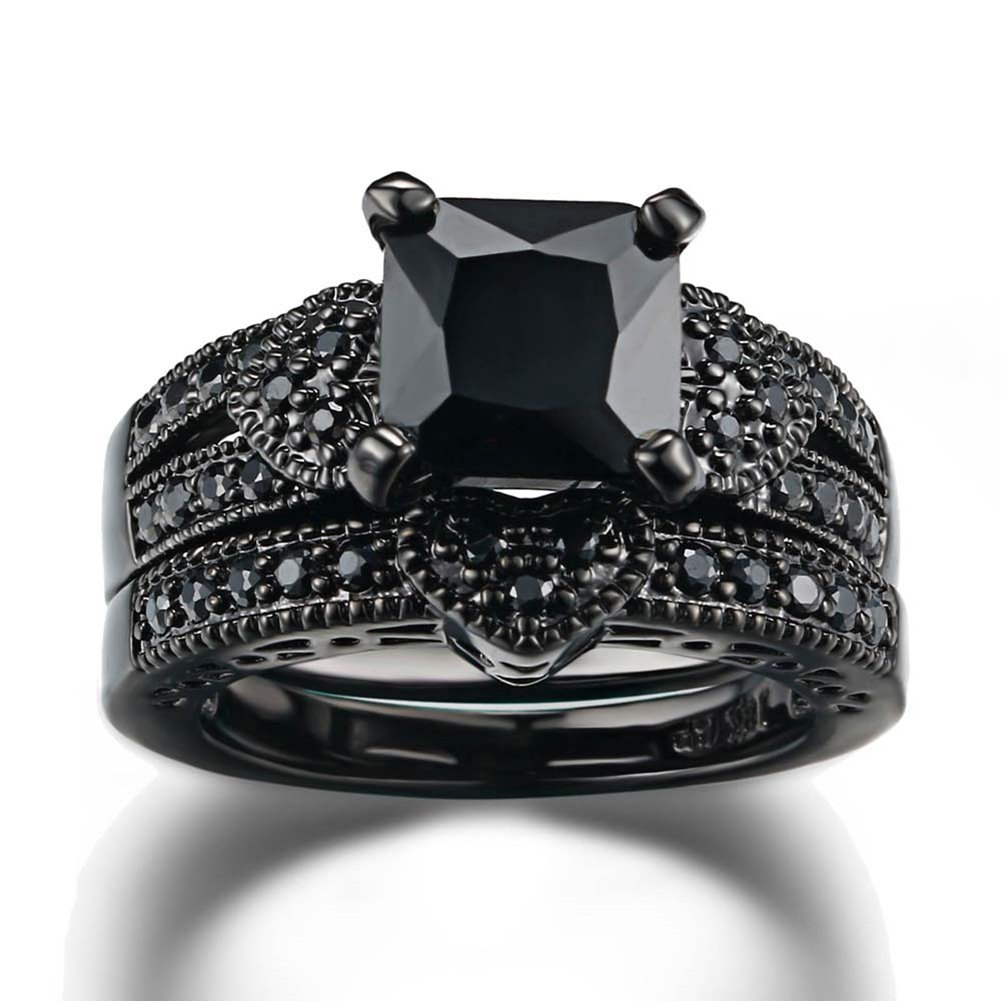 Gy Jewelry Couple Ring His Hers Women Black Gold Filled Cz Men Stainless Steel Bridal Sets Wedding Band by Gy Jewelry (Image #2)