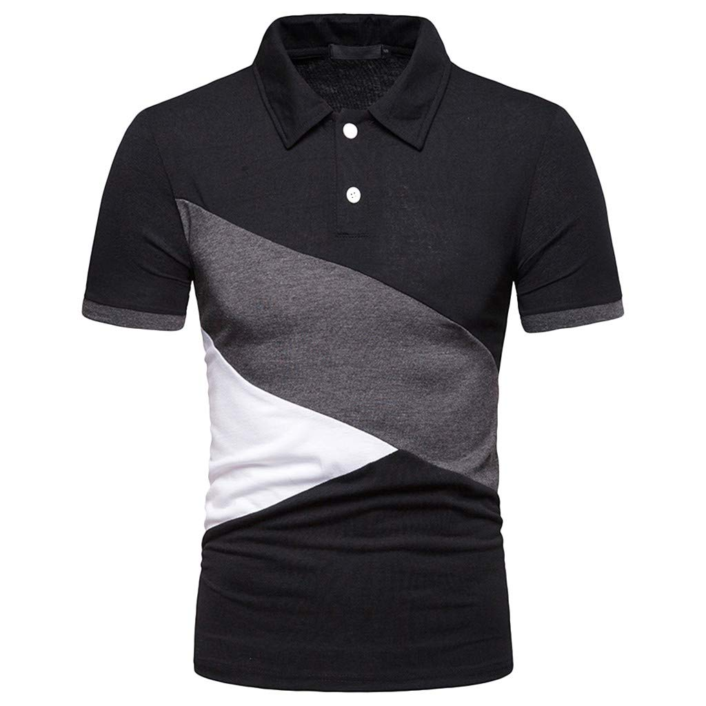 Mr.Macy Fashion Mens Short Sleeve Patchwork Shirts Casual Formal Slim Fit Shirt Top