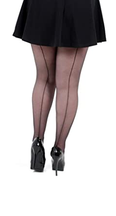 66c7019d4 Plus Size Vintage Seamed Tights for Curvy Ladies Size - XL XXL XXL Black or  Nude (X Large