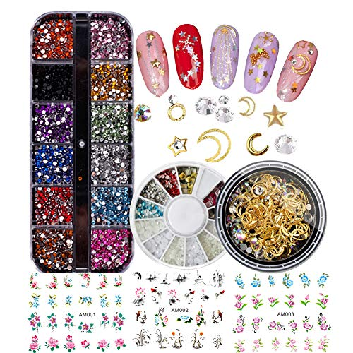 3D Glitter Rhinestones Nail Art Decorations Set Kit, Water Slide Nail Stickers Decals, Acrylic Pearl Metal Nail Studs Jewelry Accessories for Nail Design, Phone Case, Makeup (Decoration Kit A)