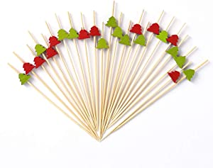 Cocktail Picks Christmas Tree 200pcs 4.7 inch for Appetizers Fruit Sticks Wooden Food Picks Sticks with Tree Cocktail Toothpicks Bar Party - Drinks Fruits Decoration,Red&Green