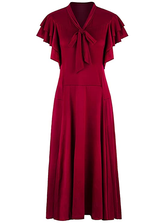 Old Fashioned Dresses | Old Dress Styles VIJIV Womens Vintage 1920s V Neck Long Bias Cut Sleeveless with Flutter Sleeves Bowknot Flapper Dress $38.99 AT vintagedancer.com