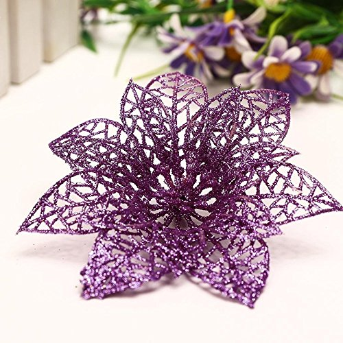 10pcs Glitter Hollow Wedding Party Christmas Artificial Flowers Christmas Tree Decorations (Low Cost Halloween Decorating Ideas)