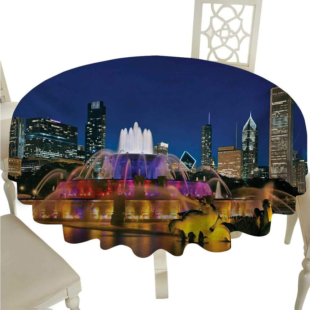 cordiall シカゴスカイライン 洗濯可能 テーブルクロス ブラックとホワイト シカゴアウトライニング シティランドマーク 抽象画 ビルのテキスト ビュッフェテーブルに最適 D36 ブラック ホワイト D54