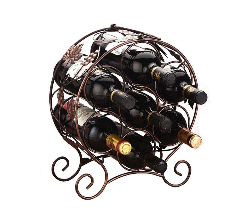 Envío rápido y el mejor servicio  1 YAN Long Home Home Home Estantería de Vino Arte de Hierro Adornos Estante de Vino Creatividad Continental Estante de Vino Hogar Simple Estante de Botella Montaje montado en la Parojo Metal estantería de  Sin impuestos
