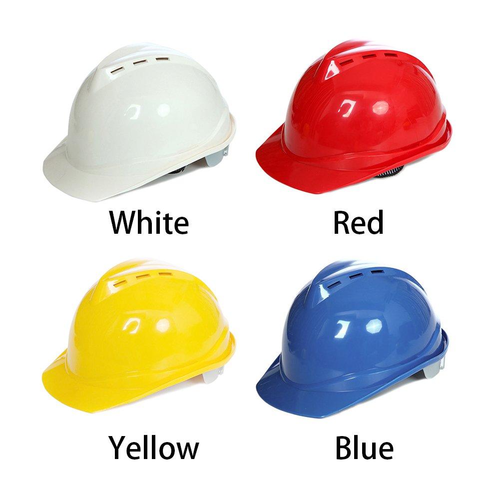 Casco de seguridad para el trabajo al aire libre, sombrero de construcción rígido para adultos, gorra de bomba (blanco): Amazon.es: Salud y cuidado personal