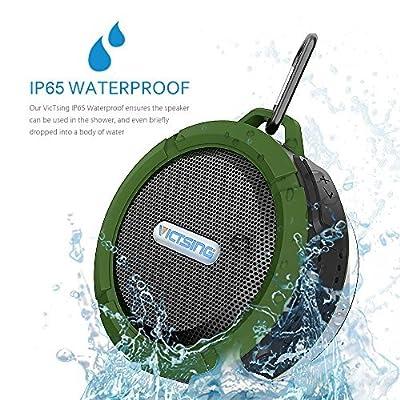 VicTsing Shower Speaker, Wireless Waterproof Speaker with 5W Drive, Suction Cup, Buit-in Mic, Hands-Free Speakerphone