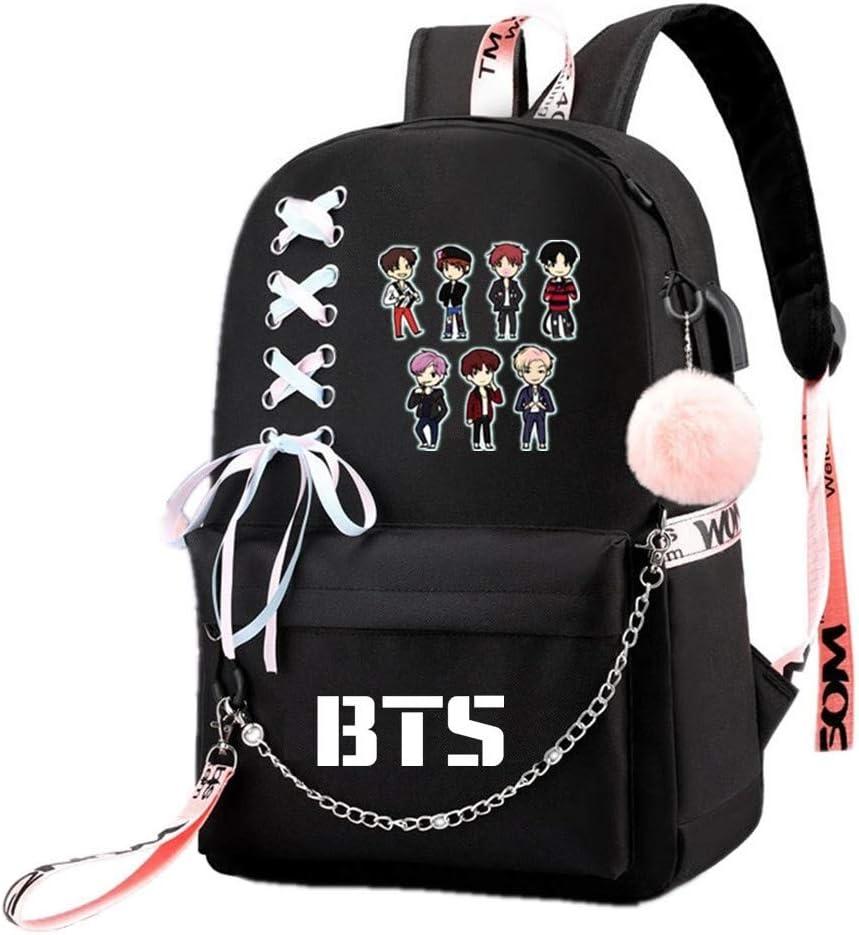 JUSTGOGO Korean KPOP BTS Bangtan Boys Backpack Daypack Laptop Bag School Bag Mochila Bookbag (Black 9)