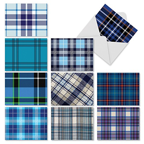 Set of 10 Note Cards with Envelopes, Assorted 'Tartan Blue' Blank Greeting Cards, Plaid All-Occasion Cards for Baby Boy, Thank You, Birthday - Stationery Notecards (4 x 5.12 Inch) ()
