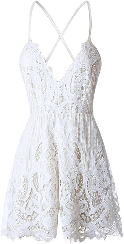 Diamondo Women V Neck Strap Backless White Lace High Waist Short Jumpsuit Romper//M
