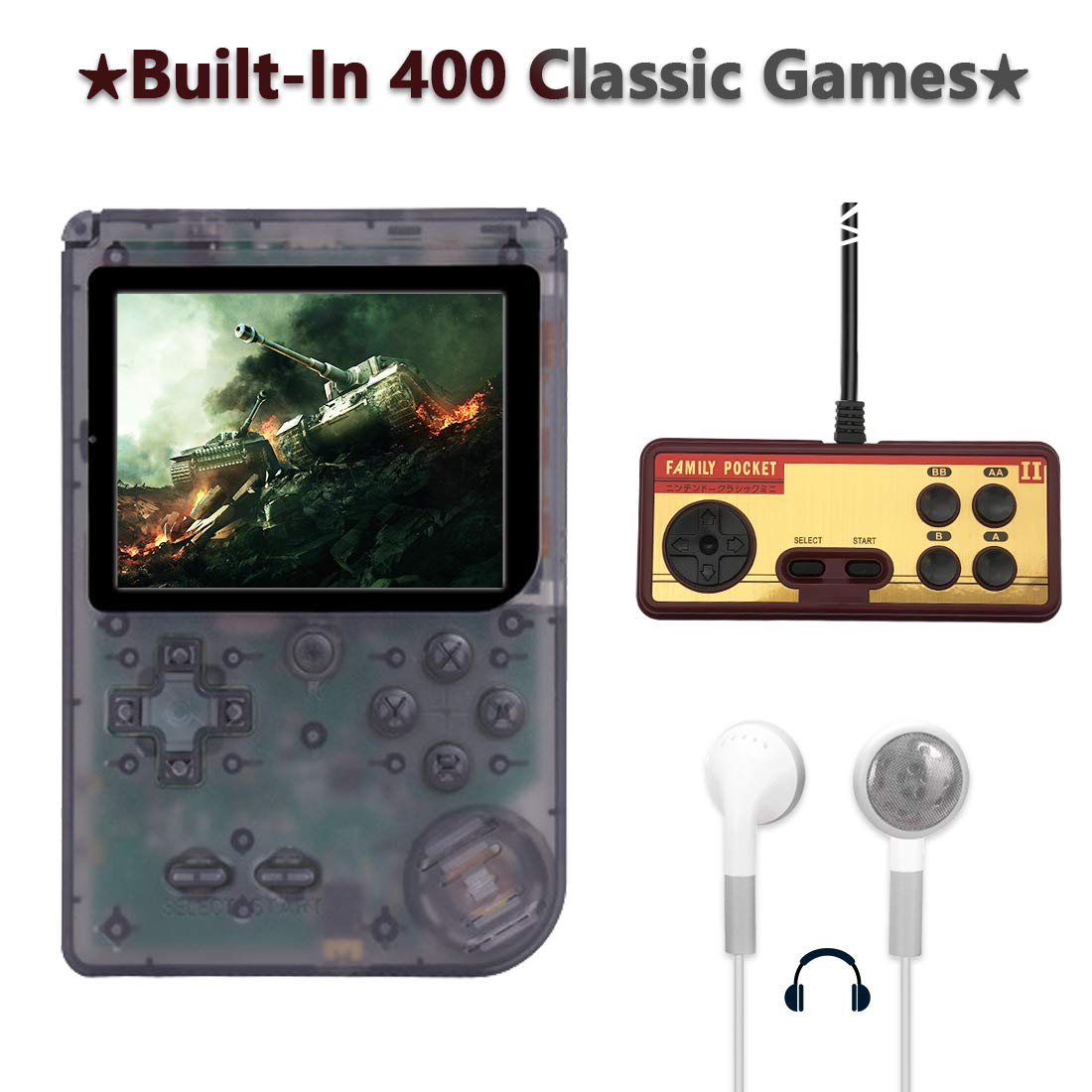 AKTOUGST Handheld Game Console, Retro Game Console 400 Classic Game FC System Video 3 Inch with Headphone Portable Mini Extra Controller Support TV 2 Player,Gift for Child Adult, (Transparent Black)