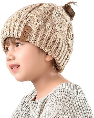 FURTALK Winter Hats for Kids Ponytail Beanie Hat Toddler Girls Knit Hats Messy Bun,Age 3-12 Years