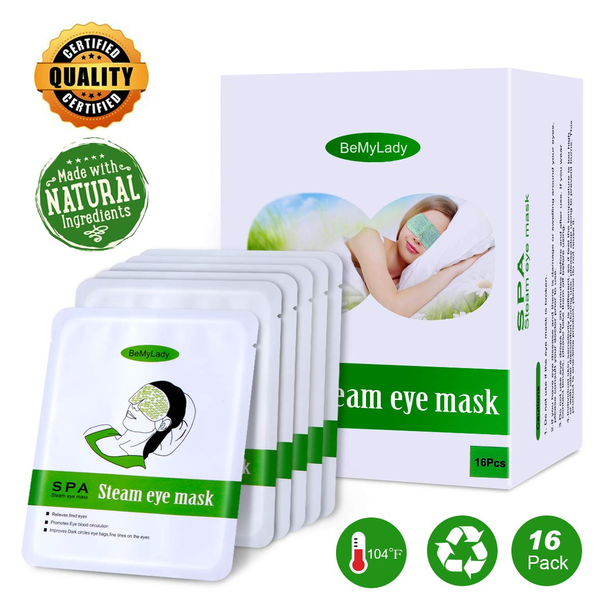 16 Packs Steam Eye Mask for Dry Eyes- Disposable Moist Heating Compress Pads for Sleeping, Relief Eye Fatigue by ProCIV