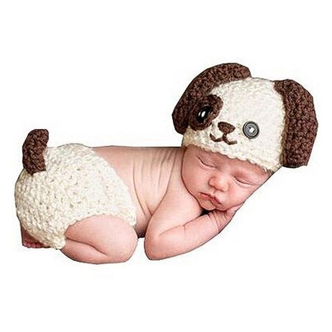 HAPPY ELEMENTS Juego de traje de perro de perrito de punto de bebé ...