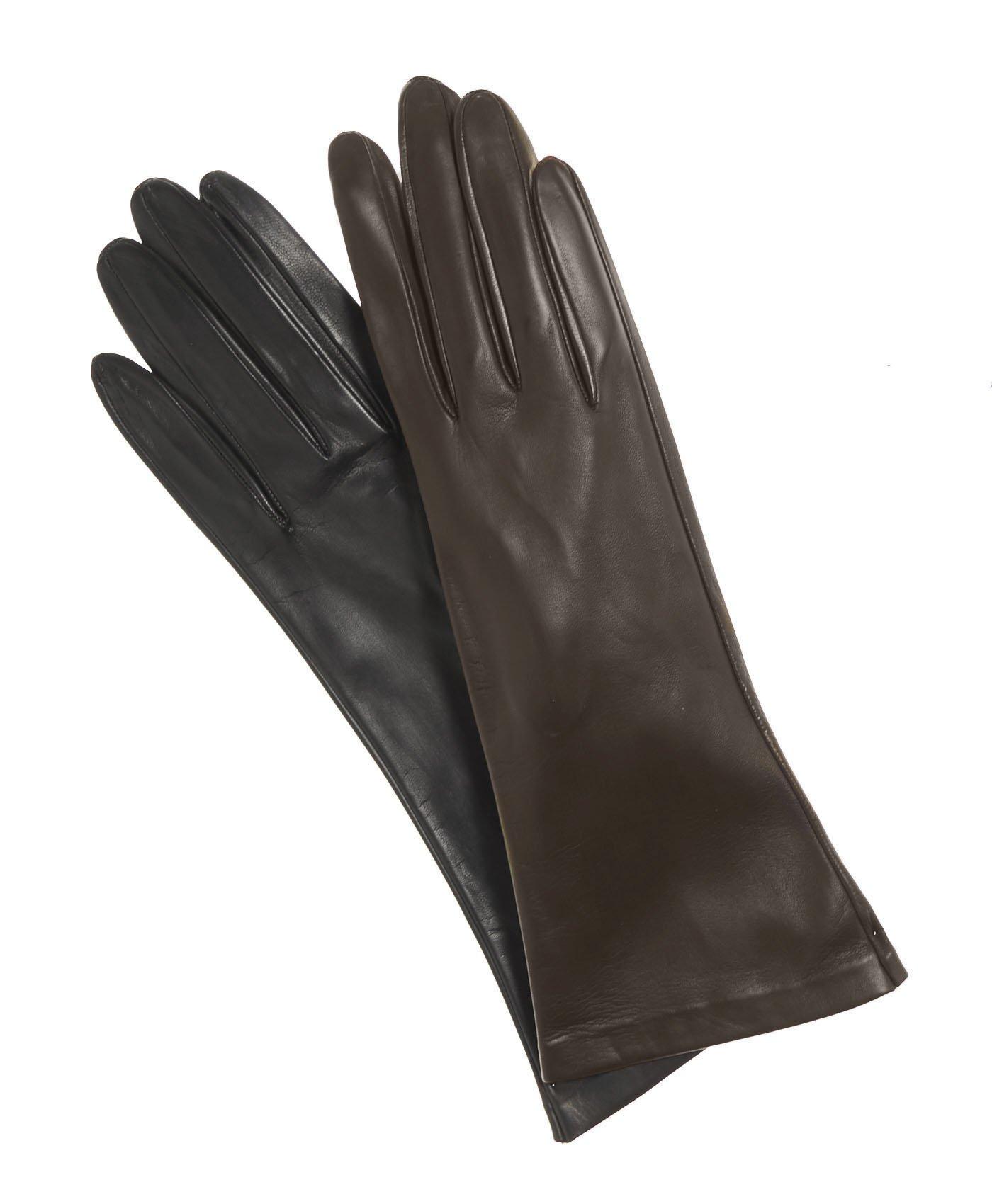 Fratelli Orsini Women's Italian''4 Button Length'' Unlined Leather Gloves Size 7 Color Black