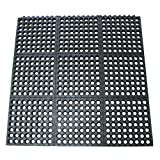 Rubber-Cal ''Dura-Chef Commercial Interlock'' Anti-Fatigue Rubber Matting, 1/2'' x 36'' x 36'', Black - 4 Pack