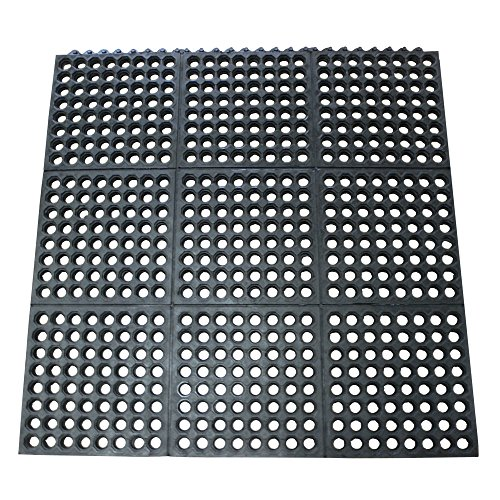 Rubber Cal 03_126_int_wbk Dura Chef Commercial Interlock Anti Fatigue Rubber Matting 1 2 X 36 X 36 Black