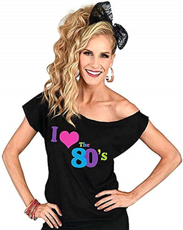 K-Brands Vintage I Love The 80s Costume Retro T Shirt 1980s Off-Shoulder Black