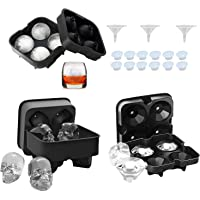 WSS 3 PACK Ice Cube Trays Silicone Molds - Sphere Ice Ball Maker Skull Diamond Shape BPA Free and Reusable with Lid…