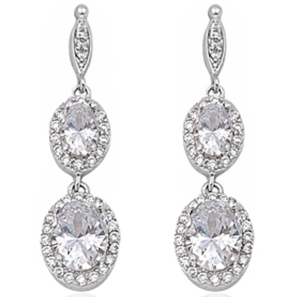 Dangle Simulated Gemstone Cubic Zirconia .925 Sterling Silver Elegant Earrings 3.5