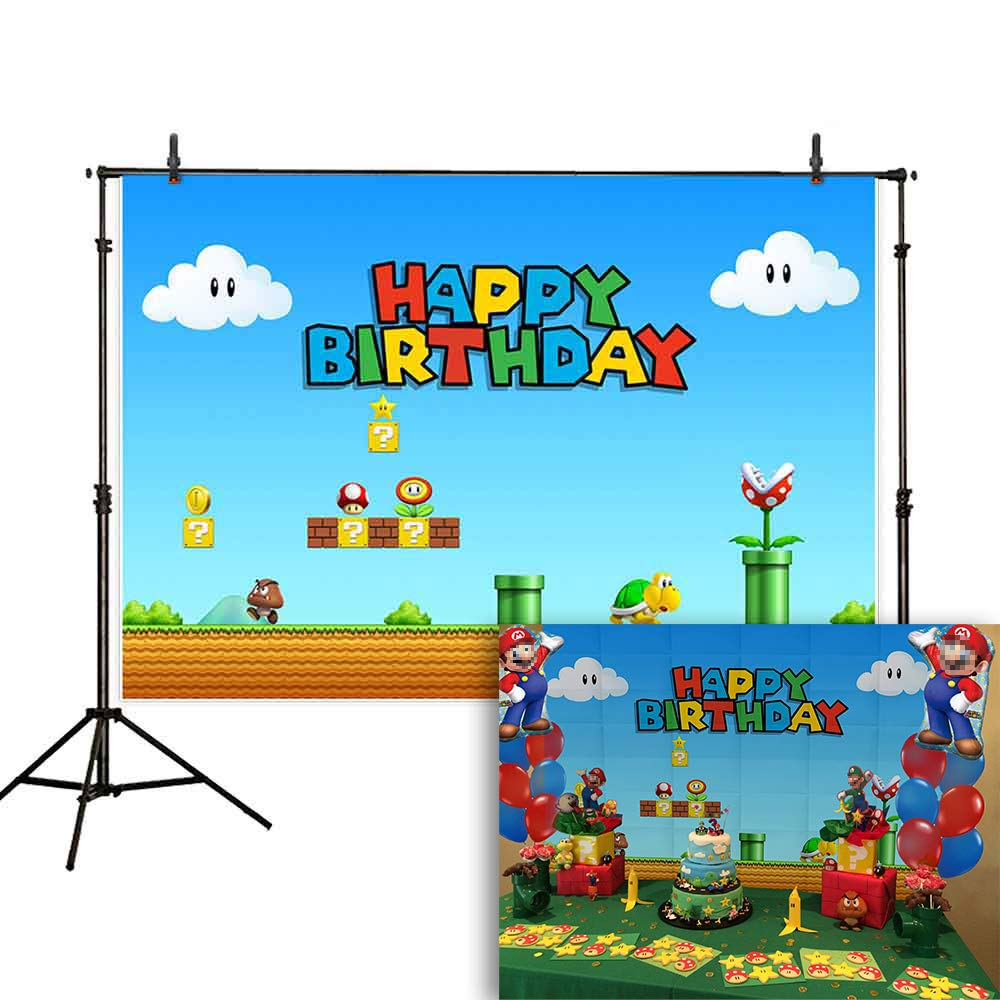 Allenjoy 7x5ft Birthday Video Game Backdrop Super Brother Adventure Photography Background Cartoon Mushroom Gold Coin Baby Shower Party Supplies Cake Table Decoration Poster Banner Photo Booth Props by Allenjoy