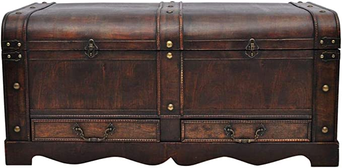 Vintage Large Wood Chest with Leather Trim Antique Trunk MCD More Core Division Wooden Storage Box Travel Case