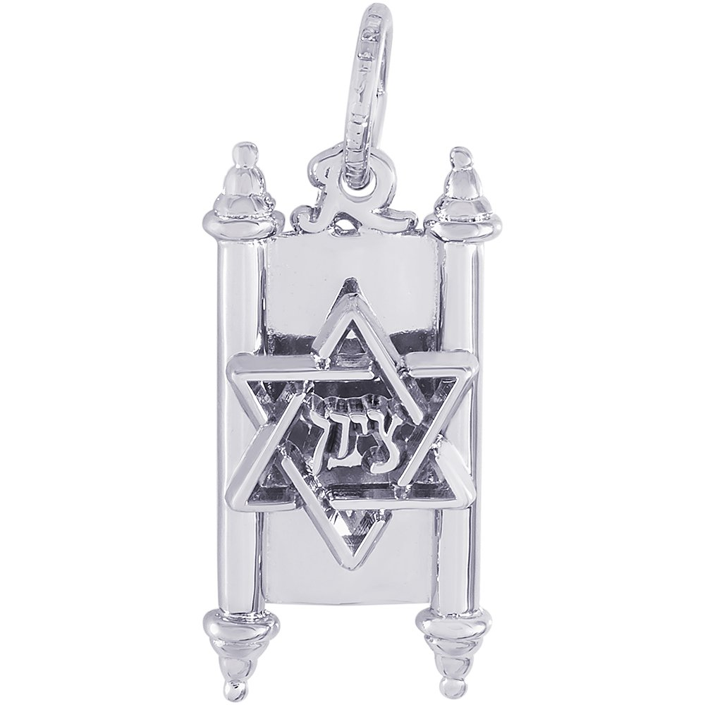 18 or 20 inch Rope Rembrandt Charms Sterling Silver Torah Charm on a 16 Box or Curb Chain Necklace