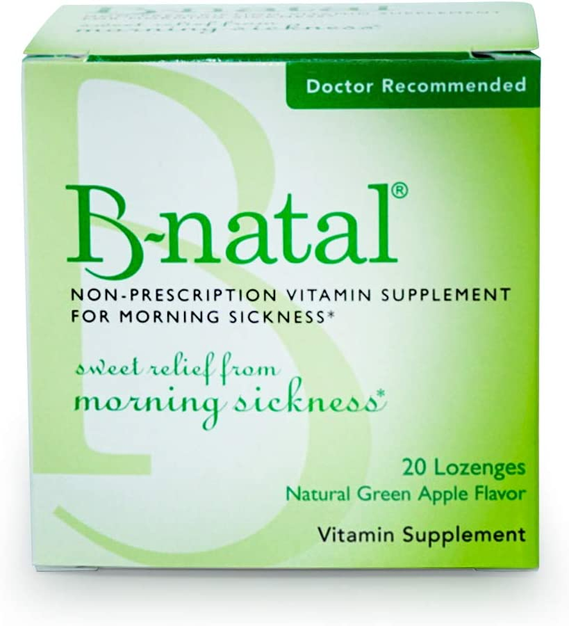 B-Natal Lozenge for Morning Sickness Relief, Contains Doctor Recommended Vitamin B6 for Pregnancy Nausea (New 20 Count)