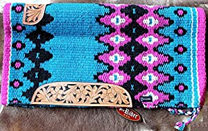 34x36 Horse Wool Western Show Trail SADDLE BLANKET Rodeo Pad Rug Turquosie 3663C by Tackrus