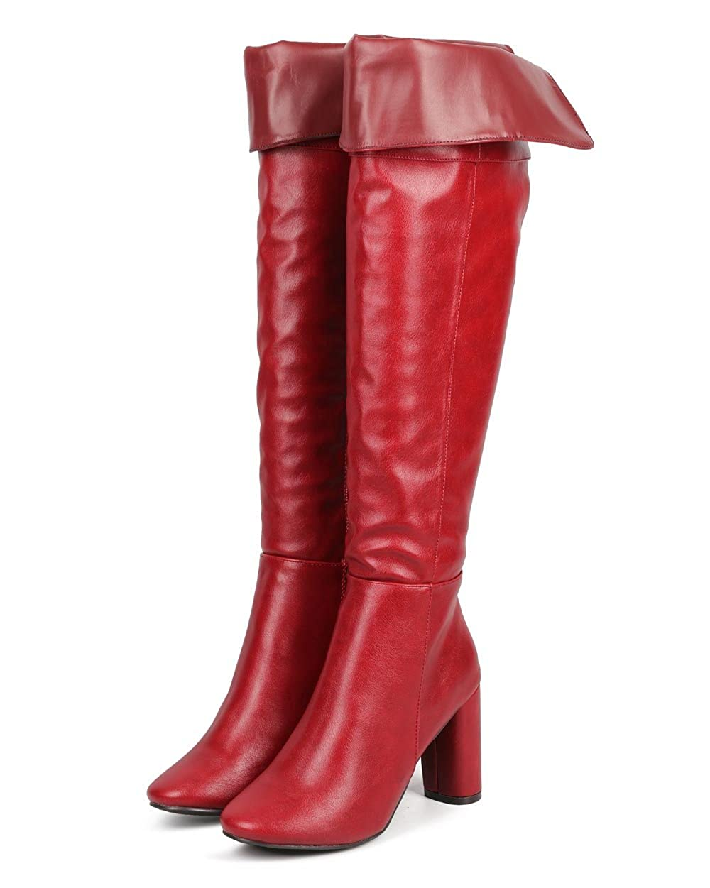 Women's Red Faux Leather Fold Over Knee-High Tailored Boot - DeluxeAdultCostumes.com