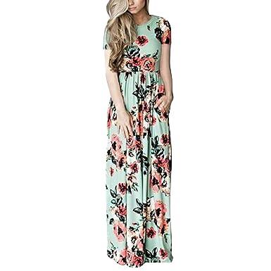 3f0009431772 FeelinGirl Damen Lange Kleid Kleider Sommerkleider Maxikleider Blumenkleid  Blumedrucken Strandkleid Rundhals High Waist  Amazon.de  Bekleidung