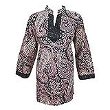 Boho Indian Ethnic Tunic Black Printed Women Blouse Kurti Dress M