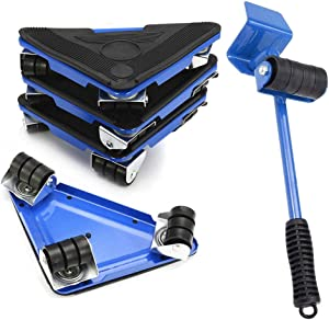 Furniture Lifter and 4 pcs Iron Furniture Slides Kit Heavy Furniture Move Roller Tools Max Up for 300KG/660LBS 360 Degree Rotatable Pads Easily Redesign and Rearrange Living Space Sofa Easy