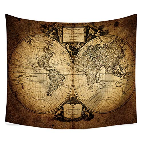 Yinrunx Colorful World Map Tapestries Polyester Fabric Hippie Bohemian Print Home Decor Wall Hanging Tapestry Beach Throw Blanket 59