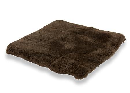 Cojín para sentarse piel de cordero EL LUJO marrón (Manta ...
