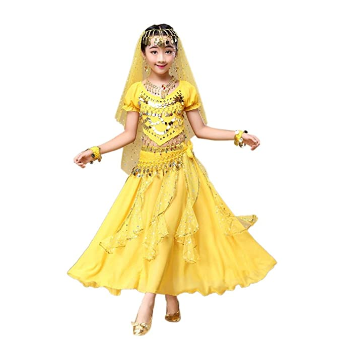 ❥Elecenty Bauchtanz Kleid Mädchens Chiffon Pailletten Tanzkleidung ...