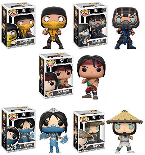 Pop Games: Mortal Kombat Scorpion, Sub-Zero, Liu Kang, Kitana, Raiden Vinyl Figures Set for $<!--$95.95-->
