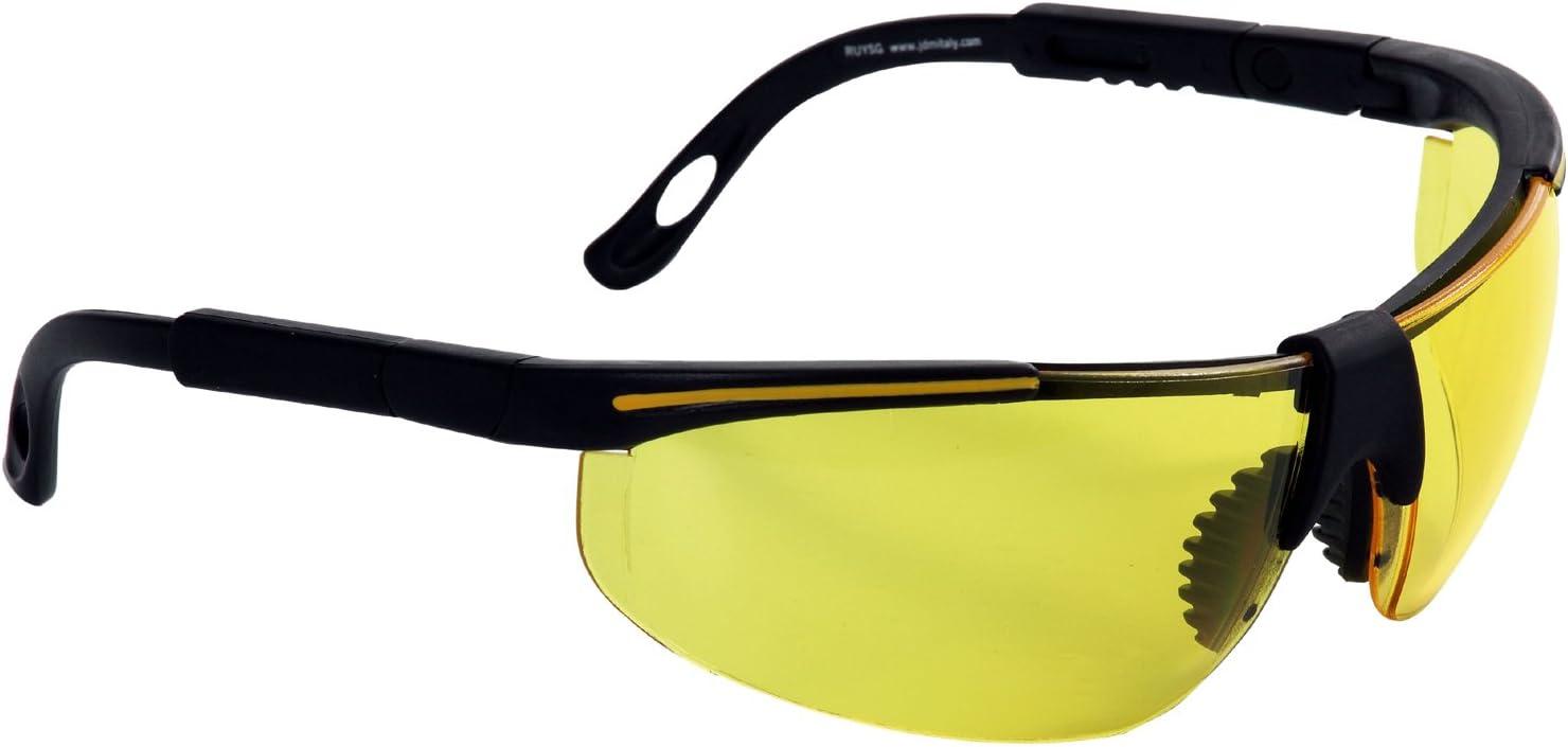 Eagle RUYSG Gafa de protección laboral con lentes intercambiables de Policarbonato de alta visibilidad con patillas ajustable, puente bimaterial y funda de microfibra