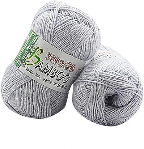 Winkey Ovillo de hilo, 100 % de algodón cálido de bambú natural, para ganchillo. Ovillo de 50 g, para mantas o jerséis W: Amazon.es: Hogar