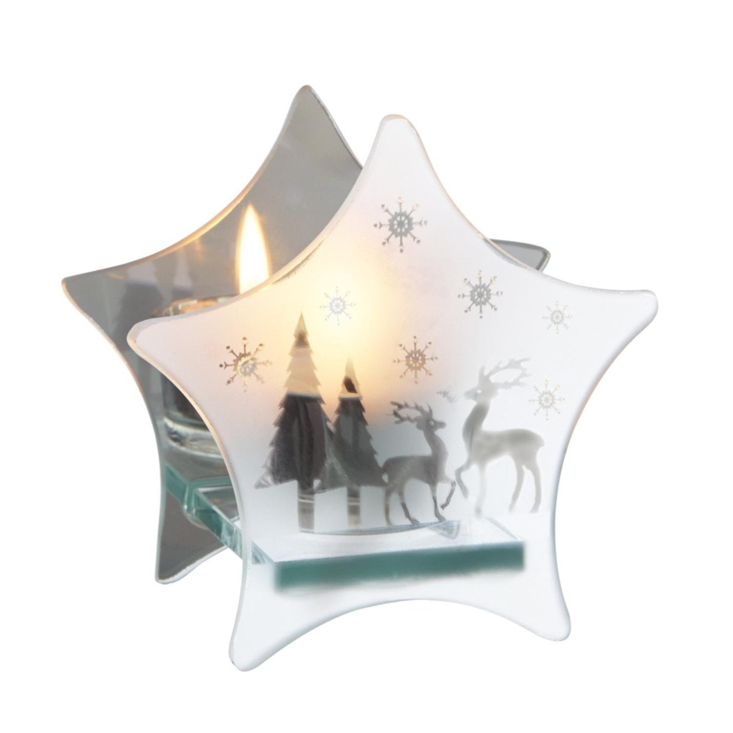 Midwest Gloves 4.25'' Frosted Glass Snowflake & Reindeer Mirrored Star Christmas Tea Light Candle Holder